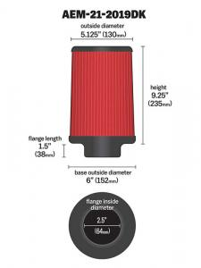 "2.5"" X 9"" DryFlow Filter AEM"