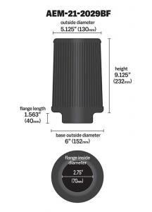 "2.75"" X 9"" DryFlow Filter AEM"