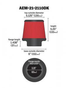 "3.25"" X 5"" DryFlow Filter AEM"