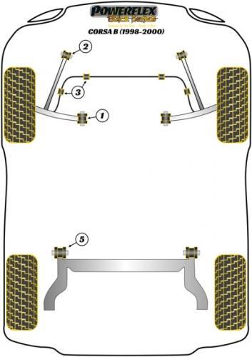 PFF80-204BLK Bussningar Främre Tie Bar Till Chassi Black Series Powerflex