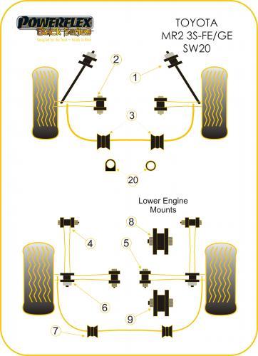 mr2 3s-fe/ge sw20 front inner track control arm bush powerflex