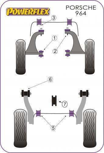 PFF57-102 Främre Wishbone-bussningar Främre  Powerflex