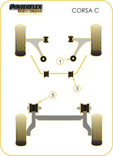 Tigra Twin Top (2004-) Bakre Subframe Bussningar Svarta Black Series (Track) Powerflex