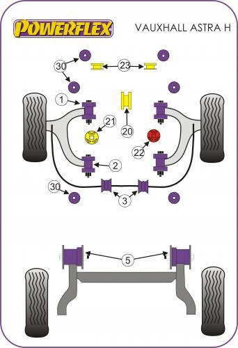 PFF80-1330 Nedre Kylarfäste  Powerflex
