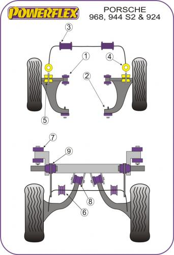 944 S2 (1985 - 1991) Bakre Axle Carrier Yttre Fäste Lila Purple Series (Street) Powerflex