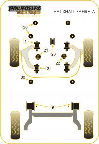 Zafira A (1999-2004) Bakre Subframe Bussningar Svarta Black Series (Track) Powerflex