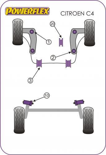 Picasso (2006-2013) Främre Krängningshämmarbussningar 21mm Powerflex