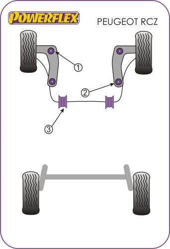 RCZ 2009+ Främre Krängningshämmarbussningar 21mm Lila Purple Series (Street) Powerflex