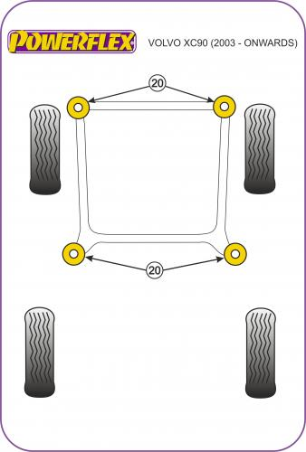 PFF88-1001 Främre Wishbone-bussningar Främre   Powerflex