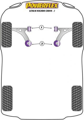 PFF76-701 Främre Wishbone-bussningar Främre   Powerflex