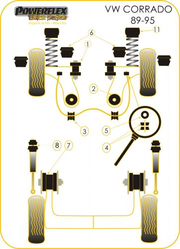 Powerflex Black front strut Top Mounts Bushes Vw CORRADO 89-95 PFF85-239BLK