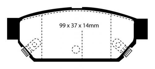 DP3986C Redstuff Rear Brake Pads (Street) EBC Brakes
