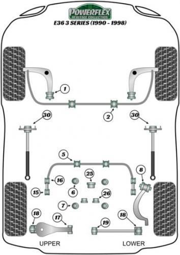 PFR5-4617H Powerflex Rear Upper Wishbone Inner Bush Heritage