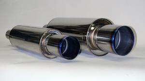 60mm In / 94mm Ut HKS Universal Rostfri Hi-Power Ti Titan Utblås Ljuddämpare 130mm x 350mm