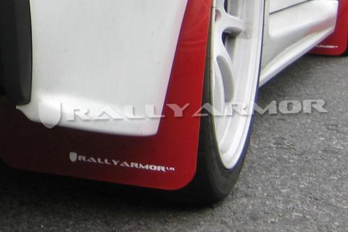 2007-2016 Lancer (Ej EVO) UR Röd Stänkskydd Vit Logo Rally Armor