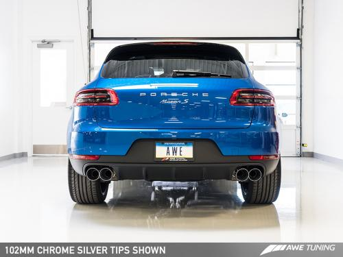 Porsche Macan Touring Edition Exhaust System - Chrome Silver 102mm Tips AWE Tuning