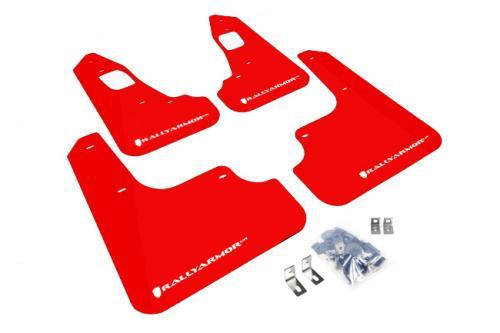 08-16 EVO X UR Röda Stänkskydd Vit Logo Rally Armor