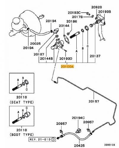 Mitsubishi Evo 1-3 / DSM Huvudcylinder Koppling OEM