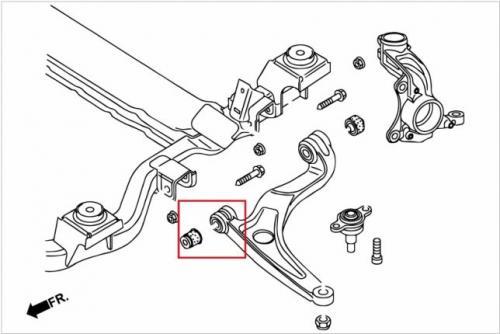 VW T4 98-03 / T5 03-16 / T6 16- Främre Nedre Länkarm - Främre Bussning (Förstärkt Gummibussning) - 2Delar/Set Hardrace