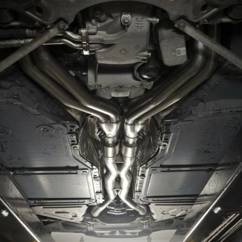 """Corvette C7 2014+ Stepped Headers 1-3/4""""-1-7/8"""" Runners 3"""" Hög-flödes Katalysatorer X-pipe Stainless Works"""