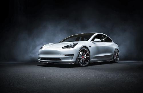 Vorsteiner Tesla Model 3 Volta Aero Front Spoiler Carbon Fiber PP 2x2 Glossy