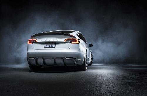 Vorsteiner Tesla Model 3 Volta Rear Diffuser Carbon Fiber PP 2x2 Glossy