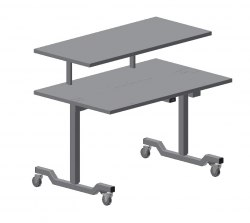 Large Instrument Table, 1500x750 mm, Additional Shelf: 1500x550mmHeight: 700-950