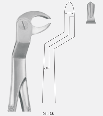Tooth Forceps, Routourer, for lower molars & wisdom teeth Right.