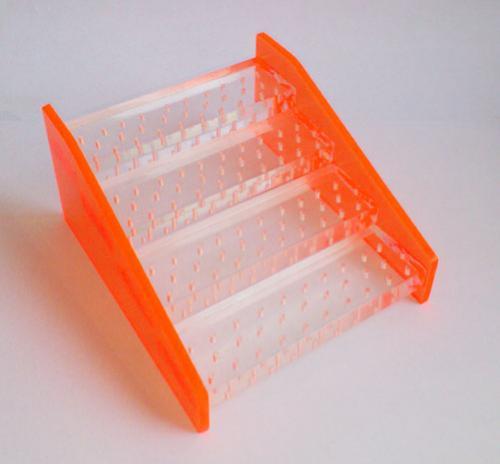 Drill Stand plexiglass S Orange FG Stepped 124 holes