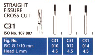 Straight fissure Bur Cross cut FG 012 6-8 bladed