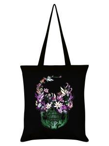 Tygväska/Shoppingbag, Skull Bloom Black