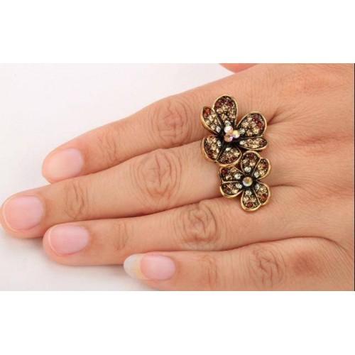 Dubbel blomma ring, Guld