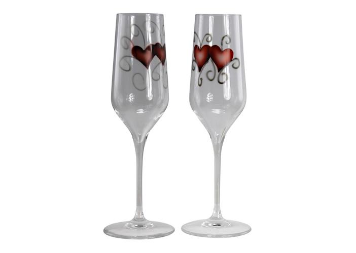 Champagneglas Hjärtan, 2 Färger