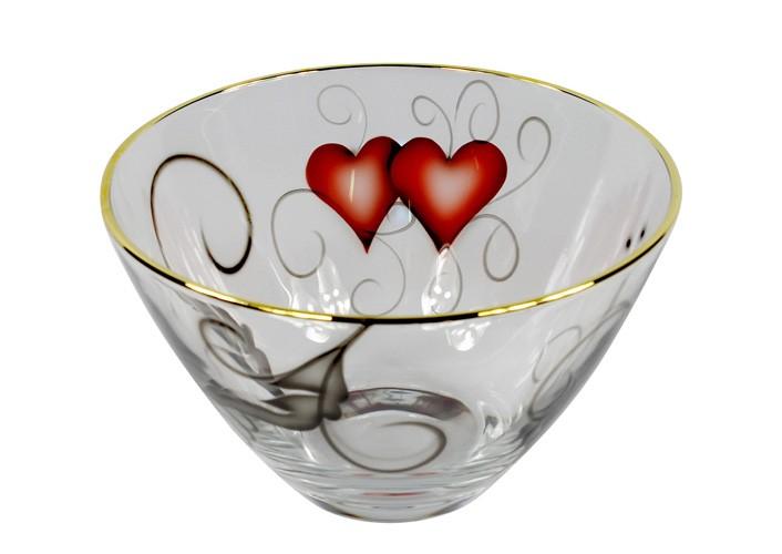 Glasskål Hjärtan Guldkant