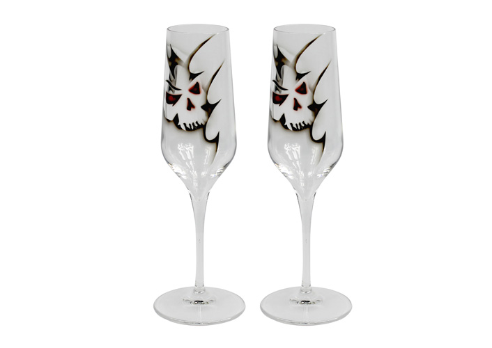 Champagneglas Dödskalle, 2 Färger