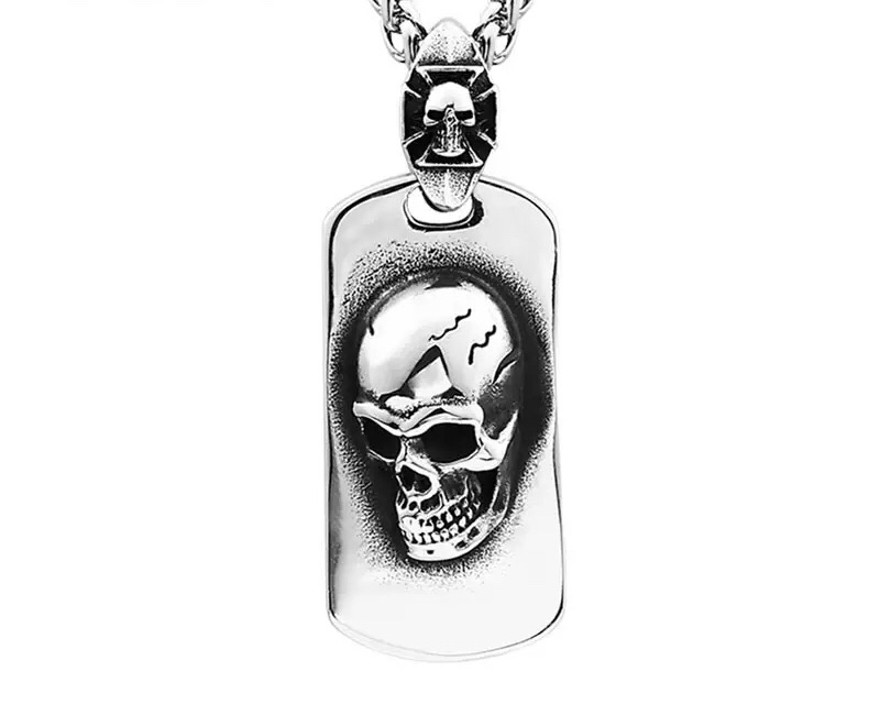 Halsband Skull Plate, rostfritt stål
