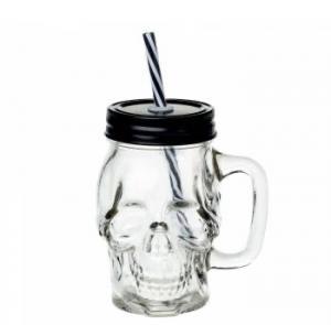 Döskalleglas med lock o sugrör
