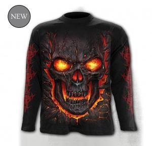T-shirt, Långärmad,Spiral, Skull Lava