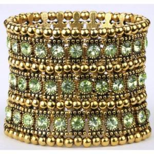 Armband 3 rader Guld/Grön