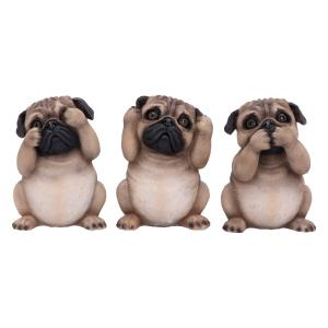 Dekorationer 3-pack, See no, hear no, speak no, Pugs
