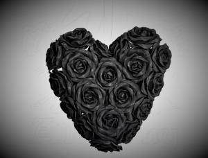 Väggdekoration Black Rose Heart