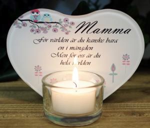 Ljusplakett med text, Mamma