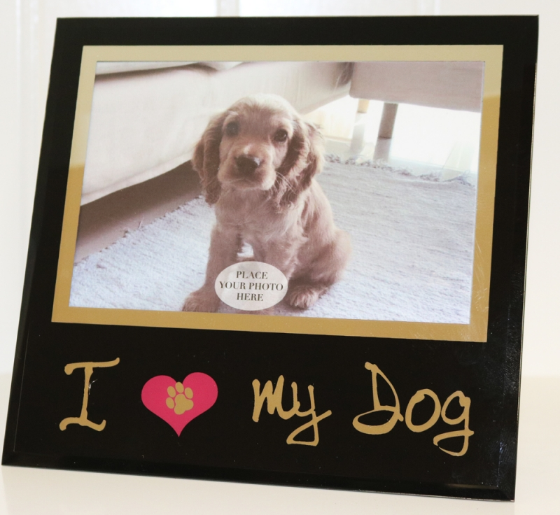 Fotoram Glas med text: I Love My Dog