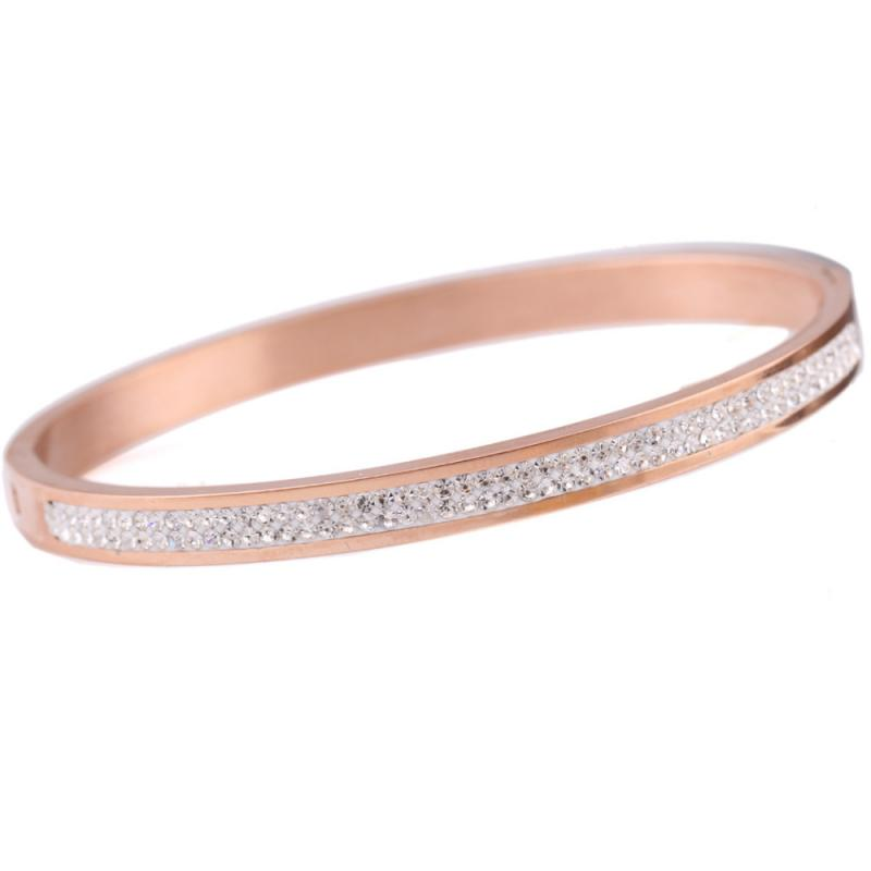 Stainless Armband med strass, Rosé