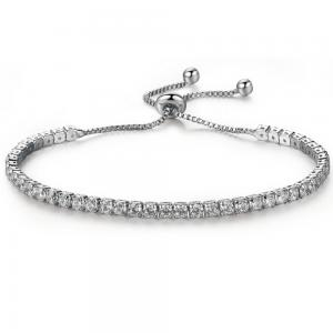Ställbart strass armband, Silver