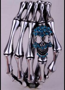 Döskallearmband hand , Silver/Blå
