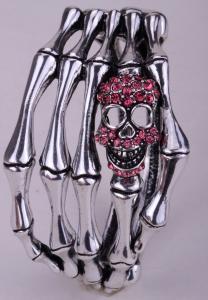 Döskallearmband hand , Silver/Rosa