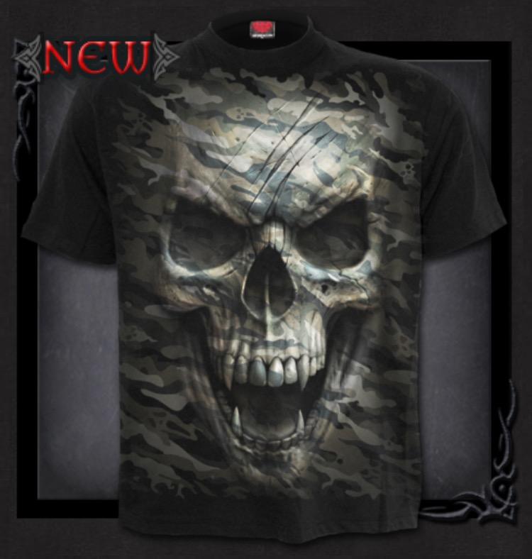 T-shirt, Spiral, Camo Skull