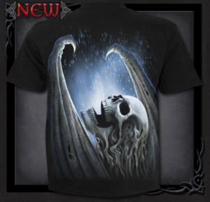 T-shirt, Spiral, Winged Skeleton