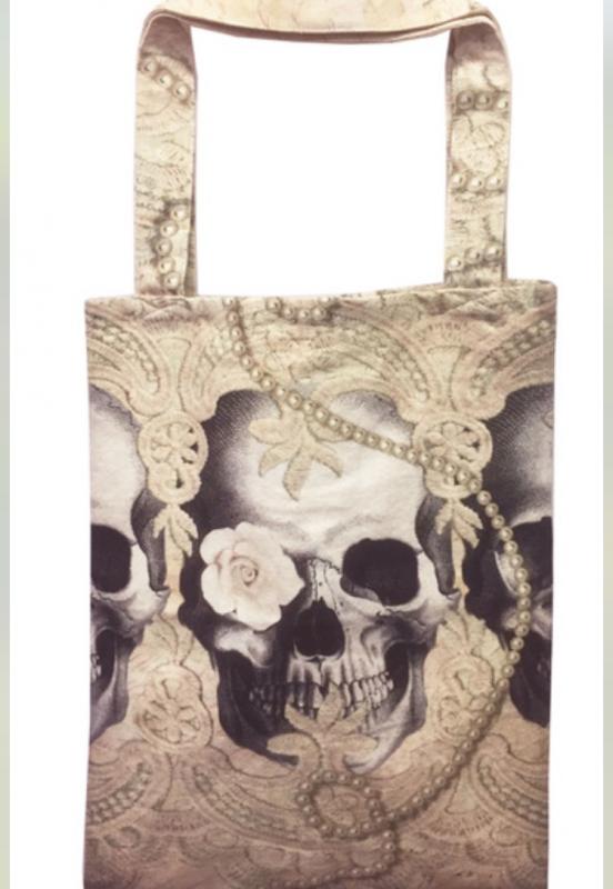 Tygväska/Shoppingbag, Lace Skull